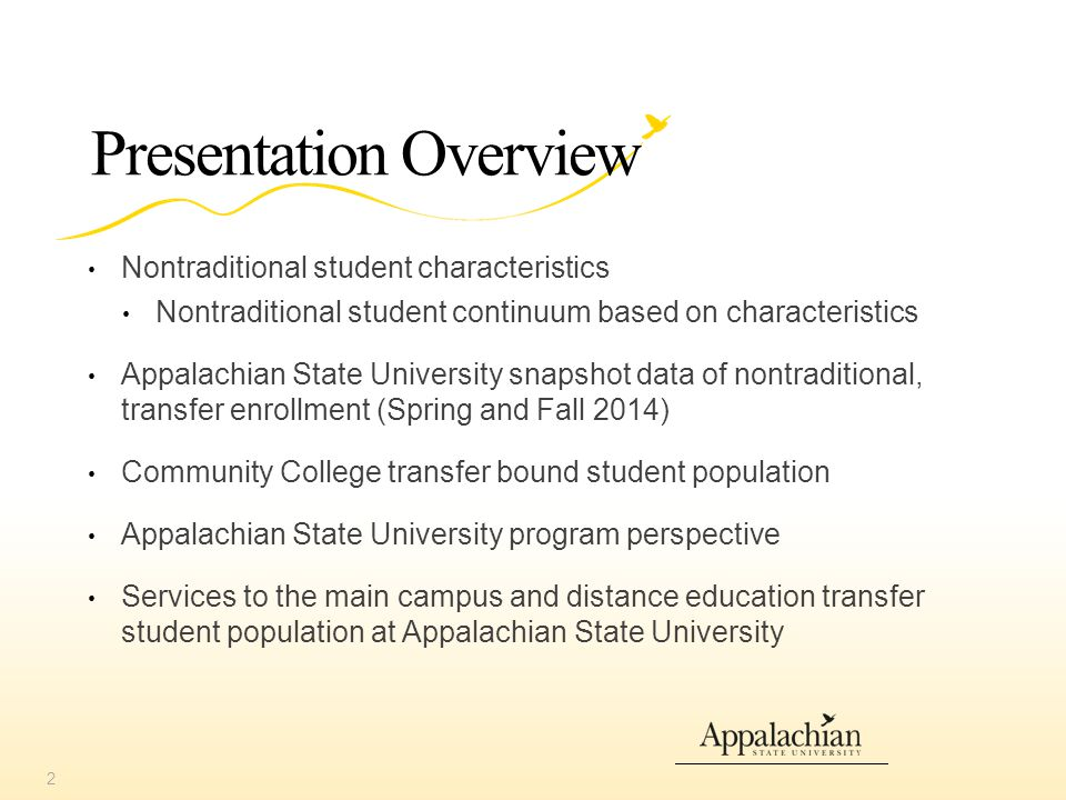 Transfer Services & Resources Office of Transfer Services Articulation of transfer credit Petition for credit Jump Start More information: transferservices.appstate.edu Transfer equivalency course search Preliminary credit evaluation And other campus resources available to all students (e.g.
