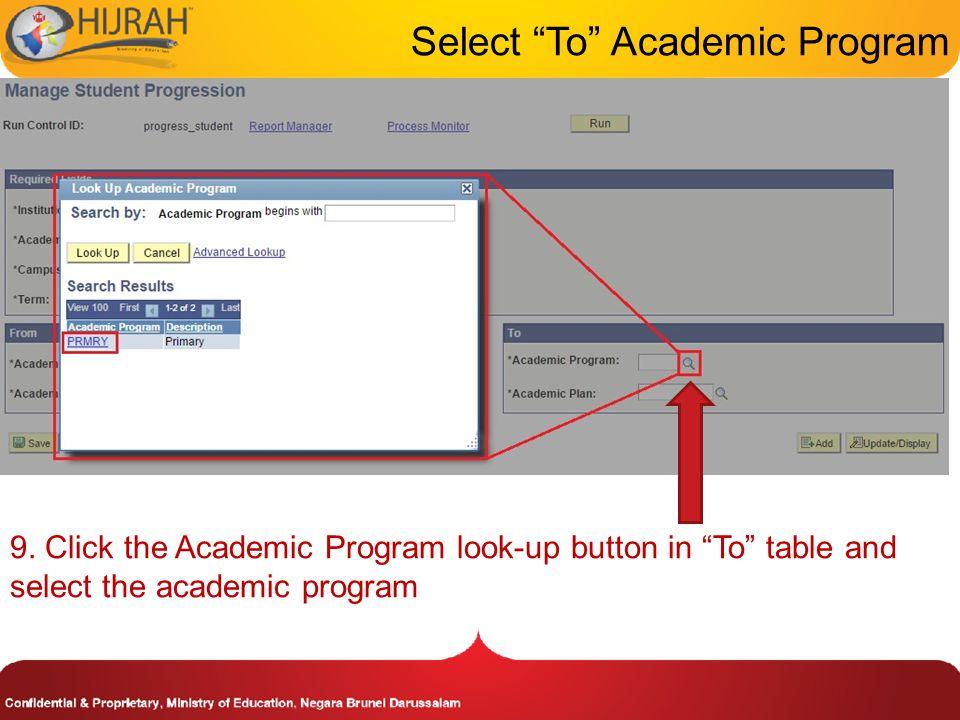 Select To Academic Program 9.