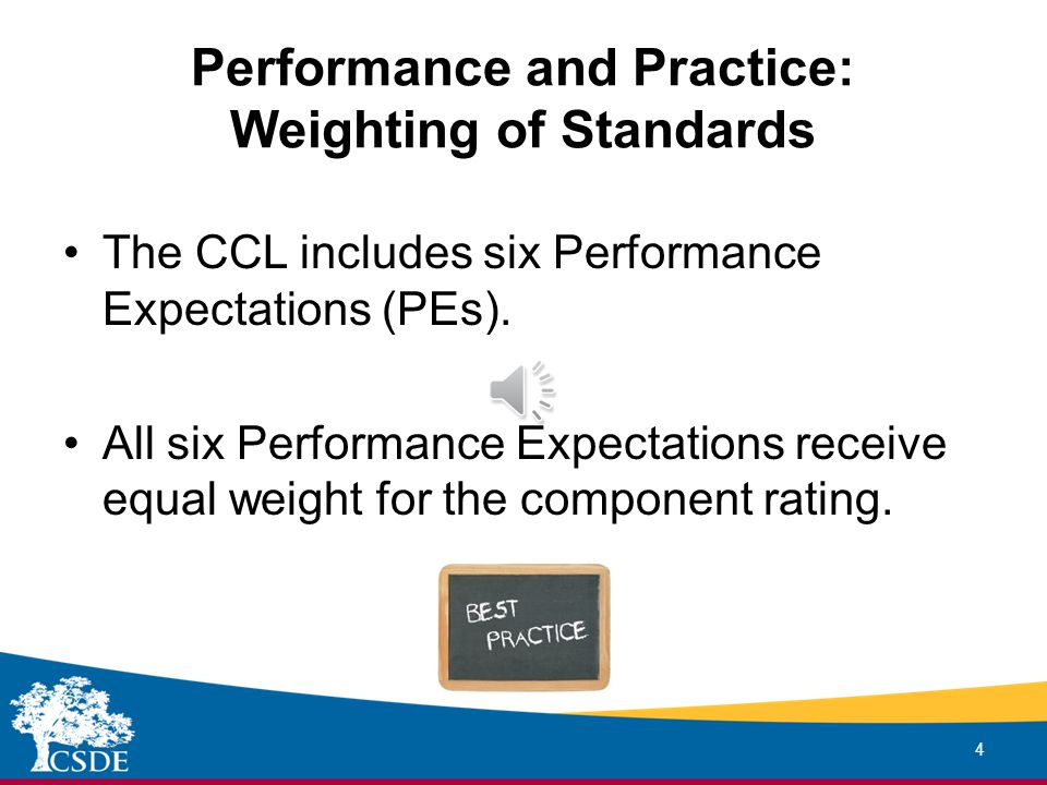 Performance and Practice: Weighting of Standards 4 The CCL includes six Performance Expectations (PEs).