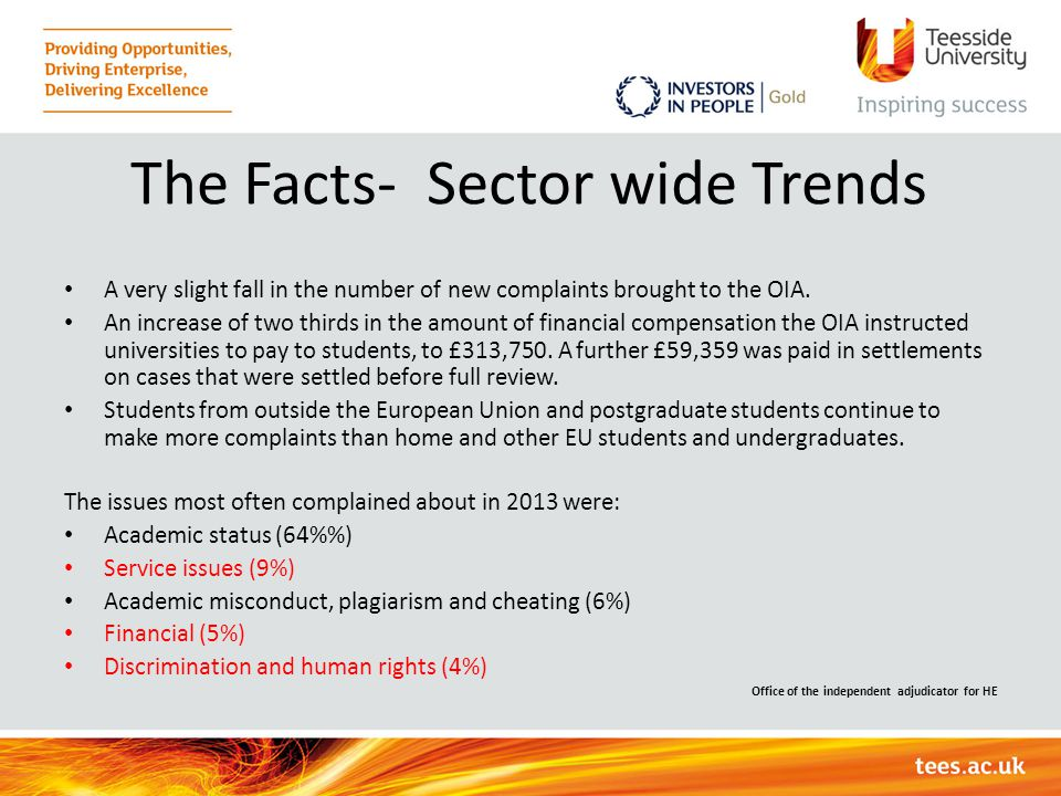 The Facts- Sector wide Trends A very slight fall in the number of new complaints brought to the OIA. An increase of two thirds in the amount of financ