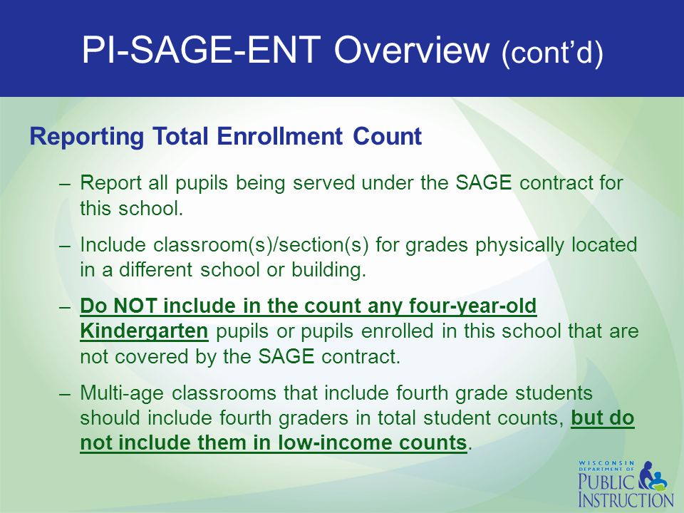 PI-SAGE-ENT Overview (cont'd) Report the following by each classroom/section: –Number of full-time equivalent (FTE) regular, licensed, elementary teac