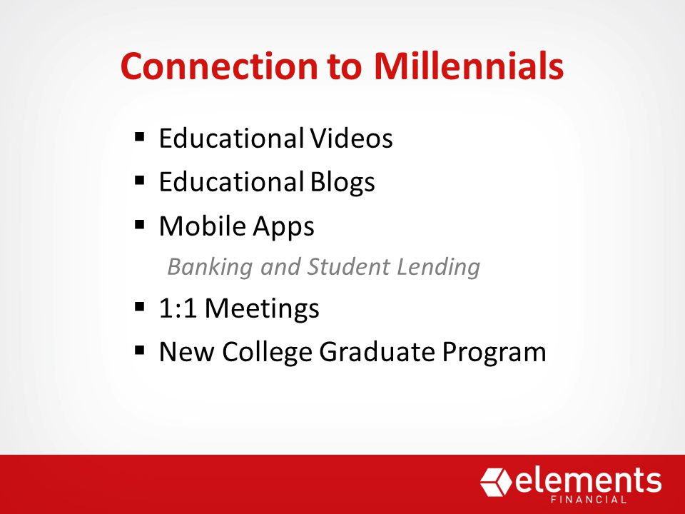  Educational Videos  Educational Blogs  Mobile Apps Banking and Student Lending  1:1 Meetings  New College Graduate Program Connection to Millennials