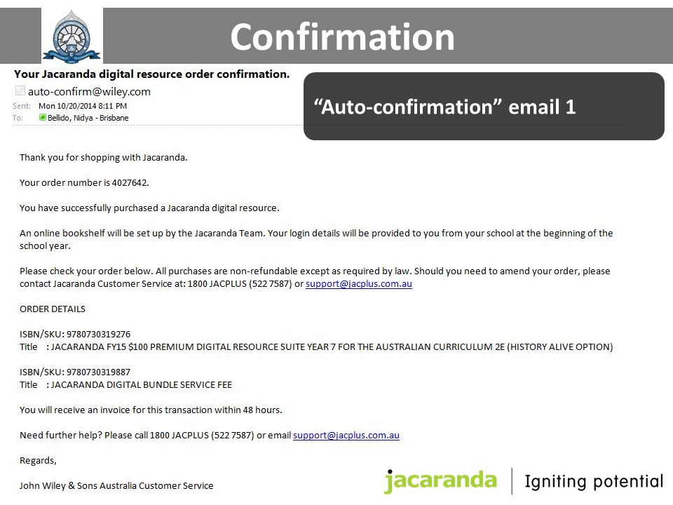 "Confirmation ""Auto-confirmation"" email 1"