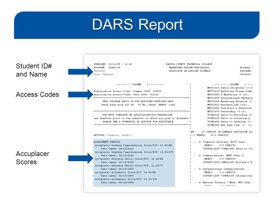 DARS Report Student ID# and Name Accuplacer Scores Access Codes