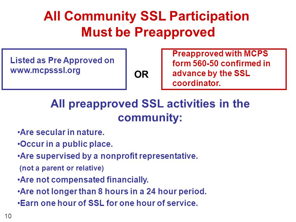 All Community SSL Participation Must be Preapproved Are secular in nature. Occur in a public place. Are supervised by a nonprofit representative. (not