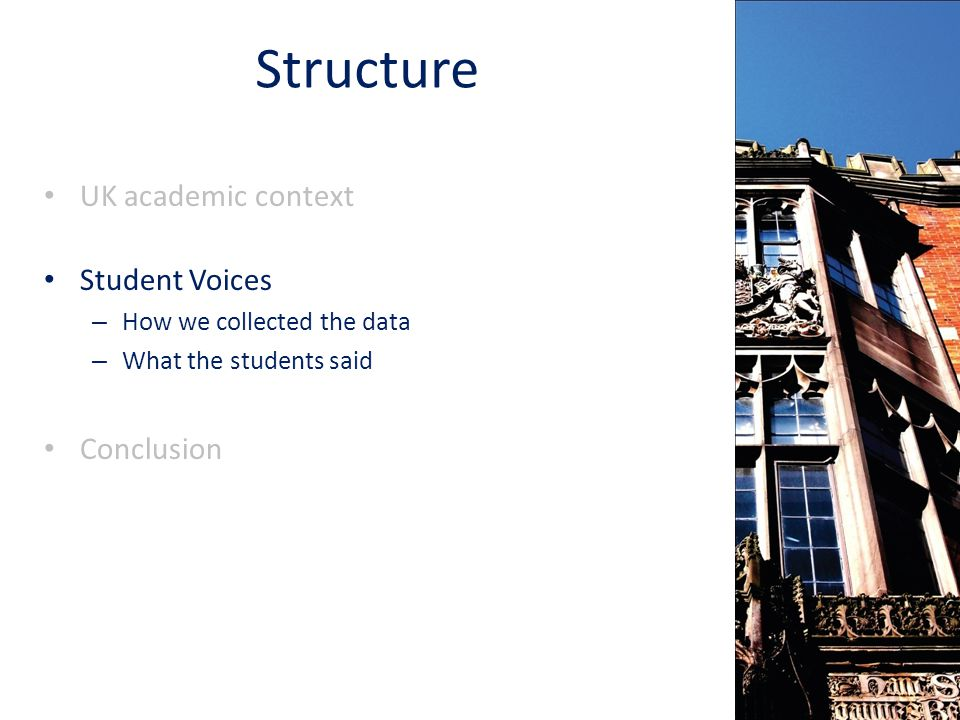 Structure UK academic context Student Voices – How we collected the data – What the students said Conclusion