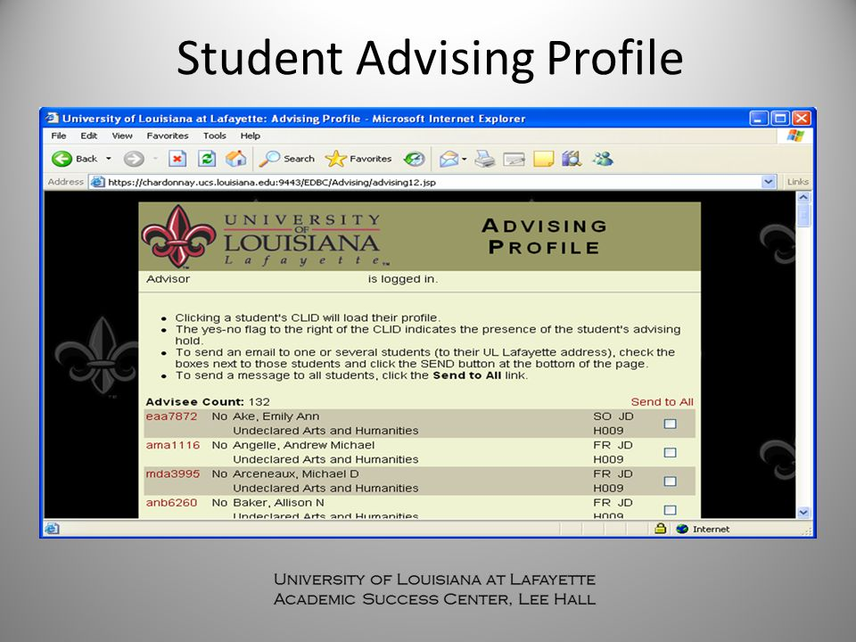 Student Advising Profile