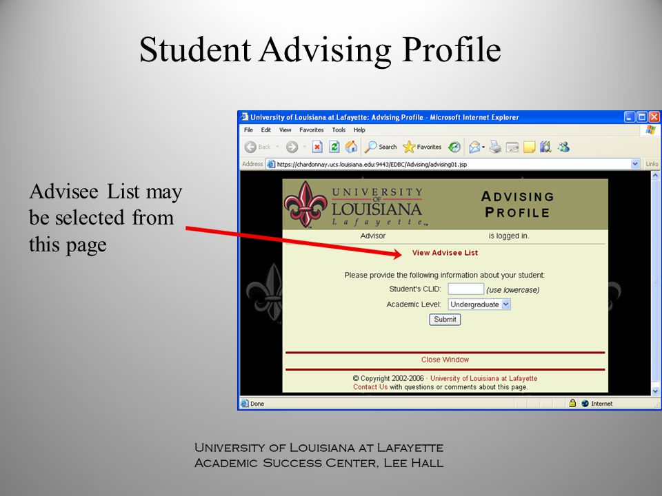 Student Advising Profile Advisee List may be selected from this page