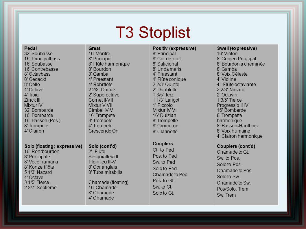 T3 Stoplist Pedal 32' Soubasse 16' Principalbass 16' Soubasse 16' Contrebasse 8' Octavbass 8' Gedäckt 8' Cello 4' Octave 4' Tibia Zinck III Mixtur IV