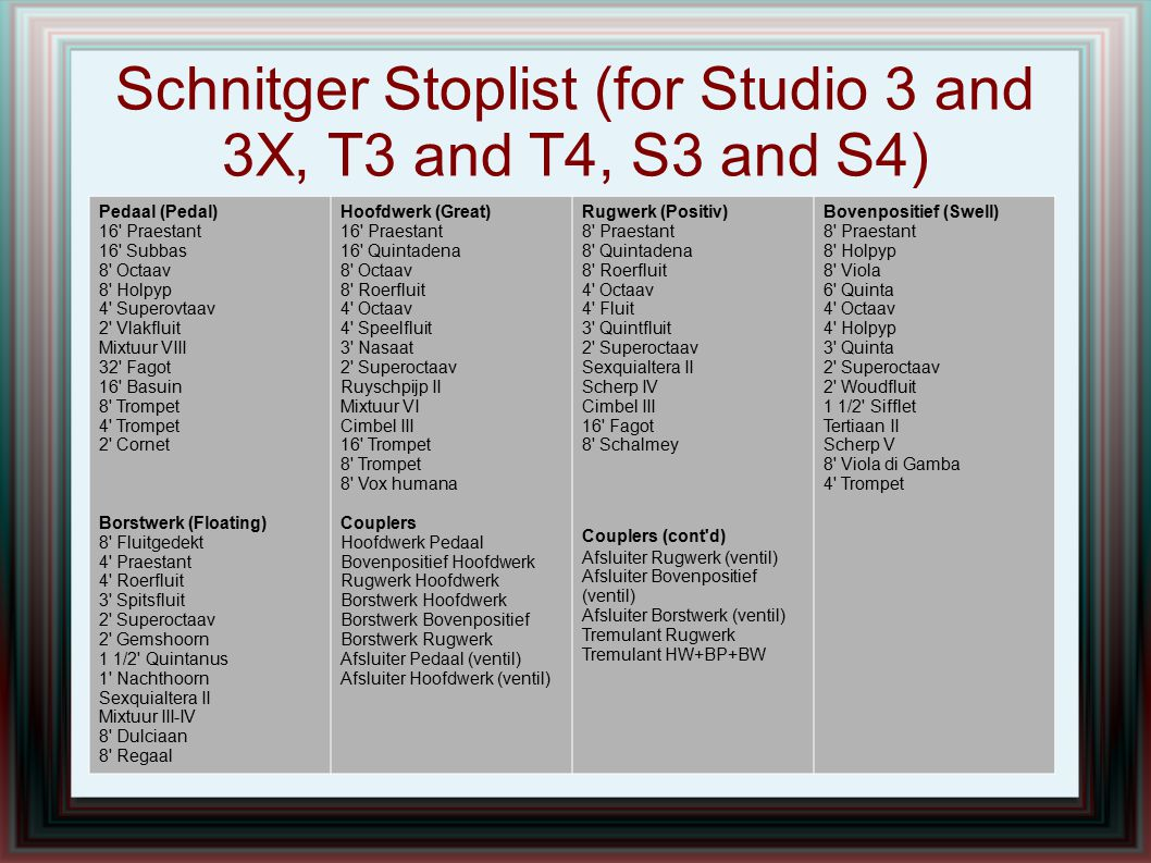 Schnitger Stoplist (for Studio 3 and 3X, T3 and T4, S3 and S4) Pedaal (Pedal) 16' Praestant 16' Subbas 8' Octaav 8' Holpyp 4' Superovtaav 2' Vlakfluit