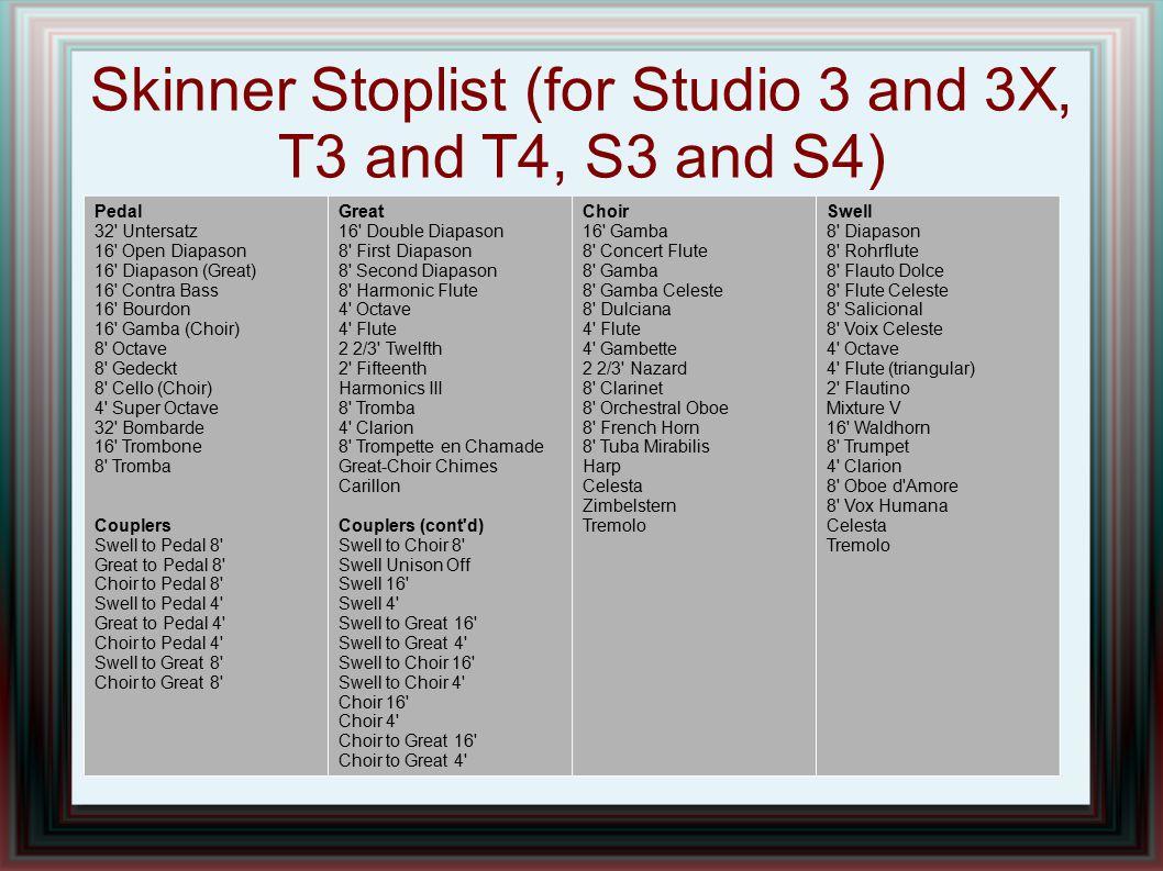 Skinner Stoplist (for Studio 3 and 3X, T3 and T4, S3 and S4) Pedal 32' Untersatz 16' Open Diapason 16' Diapason (Great) 16' Contra Bass 16' Bourdon 16