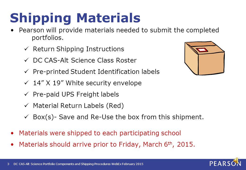 Portfolio Shipping Procedures DC CAS-Alt Science Portfolio Components and Shipping Procedures WebEx February 2015 2