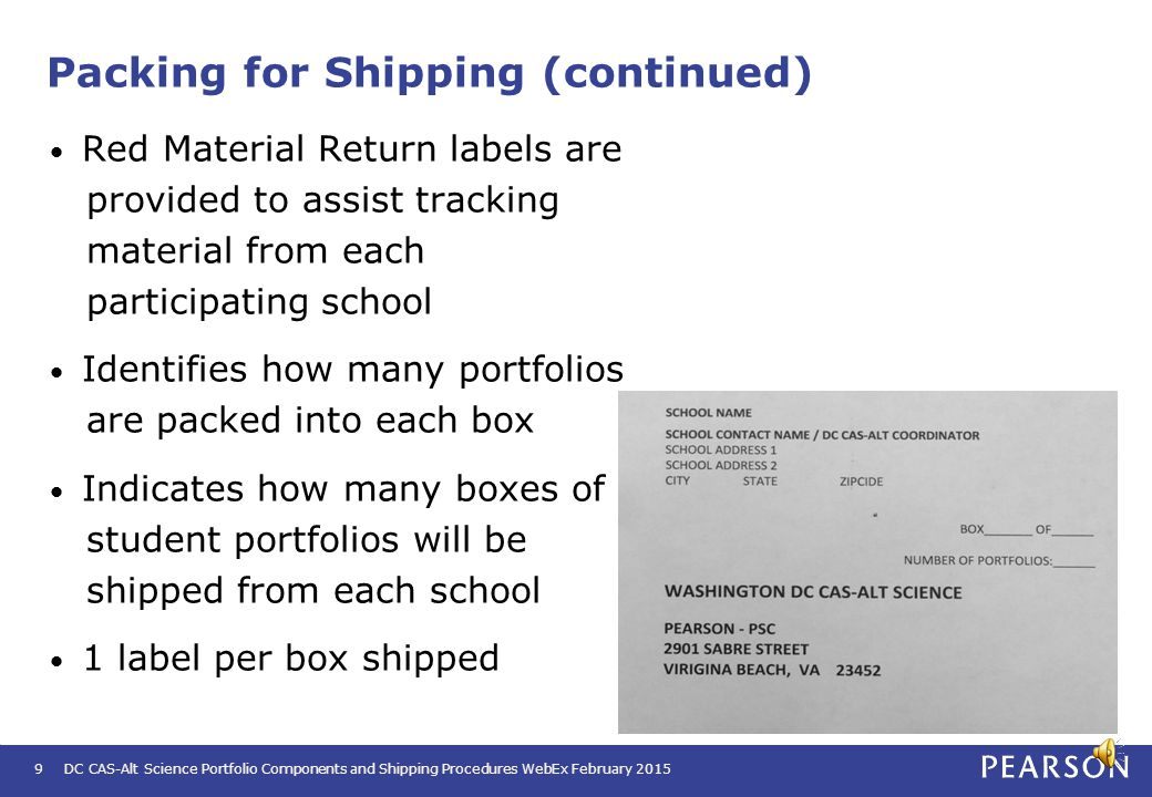 DC CAS-Alt Science Portfolio Components and Shipping Procedures WebEx February 20158 Packing for Shipping (continued) Prior to packing the portfolios,