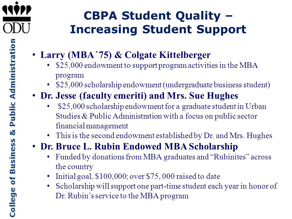 College of Business & Public Administration CBPA Student Quality – Increasing Student Support Larry (MBA `75) & Colgate Kittelberger $25,000 endowment