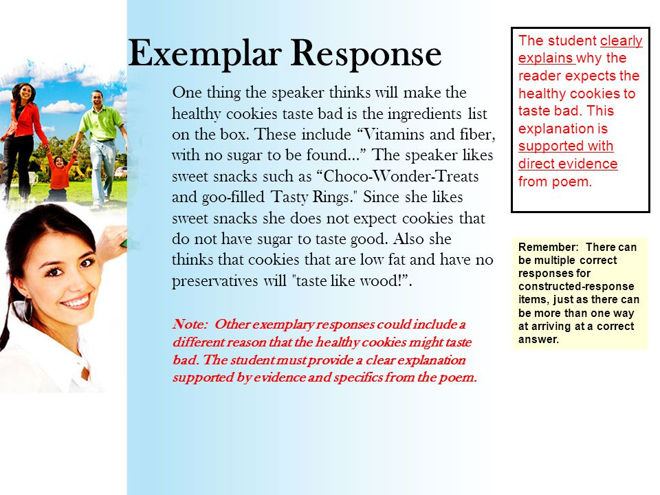 Rubric ScoreDesignationDescription 4Thoroughly Demonstrated The student demonstrates a thorough understanding of the question and the text by completely explaining why the reader expects the healthy cookies to taste bad using details from the poem as support.