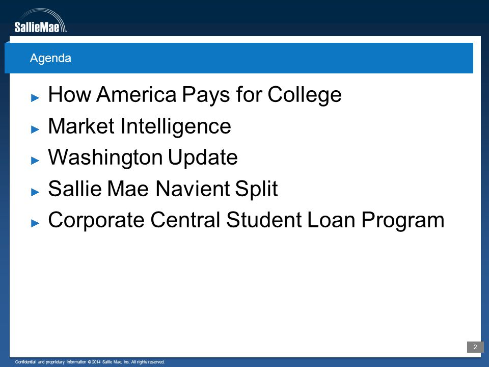 Confidential and proprietary information © 2014 Sallie Mae, Inc. All rights reserved. 2 ► How America Pays for College ► Market Intelligence ► Washing