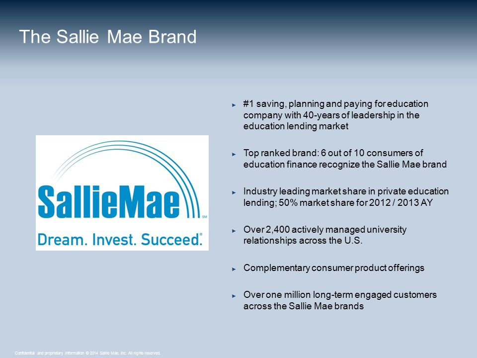 Confidential and proprietary information © 2014 Sallie Mae, Inc. All rights reserved. ► #1 saving, planning and paying for education company with 40-y