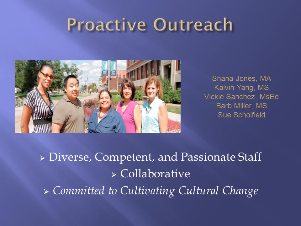  Diverse, Competent, and Passionate Staff  Collaborative  Committed to Cultivating Cultural Change Shana Jones, MA Kalvin Yang, MS Vickie Sanchez, MsEd Barb Miller, MS Sue Scholfield