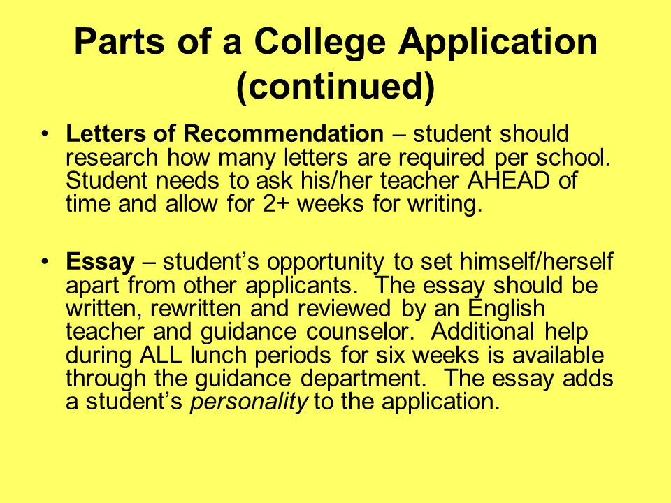Parts of a College Application (continued) Resume – may be submitted as a hardcopy by the counselor, or listed on an application.