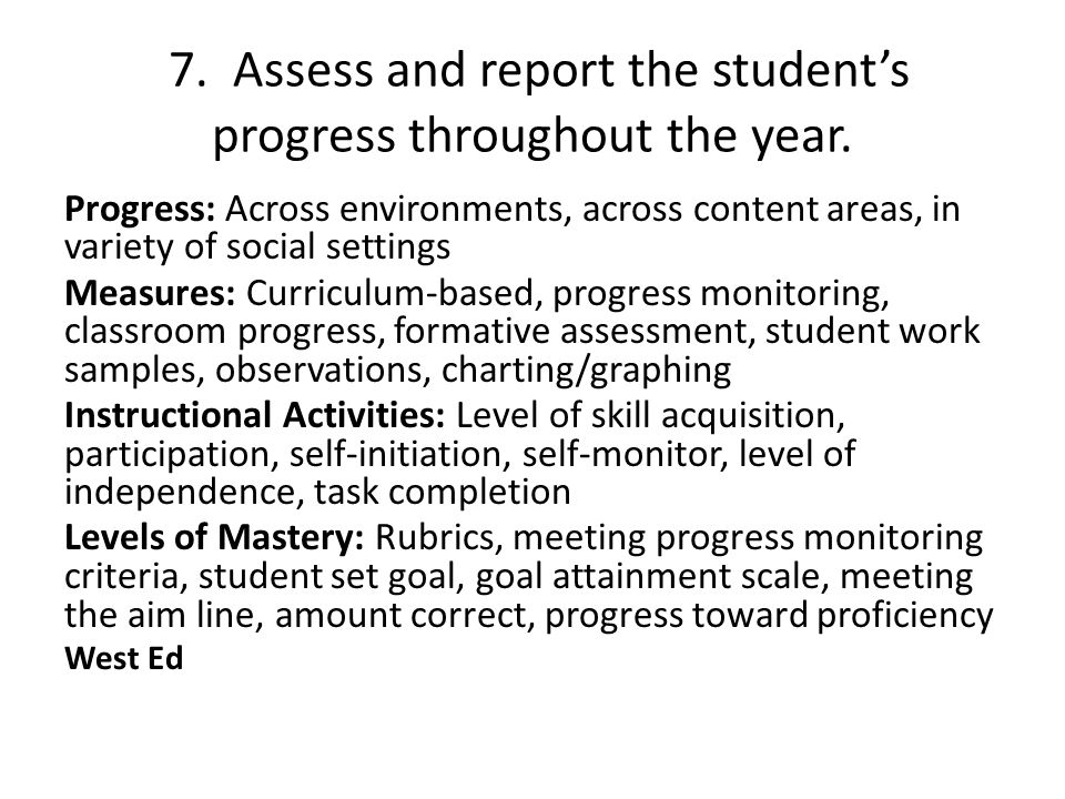 7. Assess and report the student's progress throughout the year.