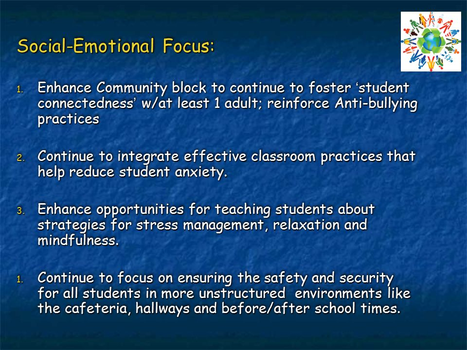 Social-Emotional Focus: 1. Enhance Community block to continue to foster 'student connectedness' w/at least 1 adult; reinforce Anti-bullying practices