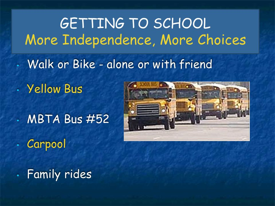 GETTING TO SCHOOL More Independence, More Choices Walk or Bike - alone or with friend Yellow Bus MBTA Bus #52 Carpool Family rides Walk or Bike - alon