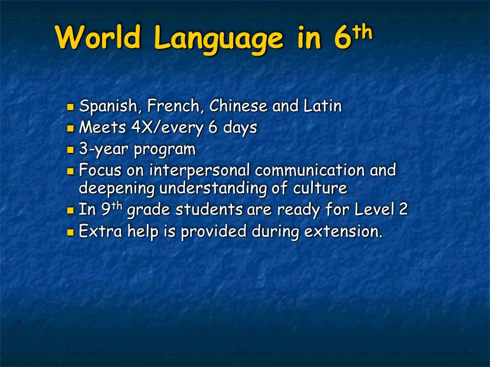 World Language in 6 th World Language in 6 th Spanish, French, Chinese and Latin Spanish, French, Chinese and Latin Meets 4X/every 6 days Meets 4X/eve