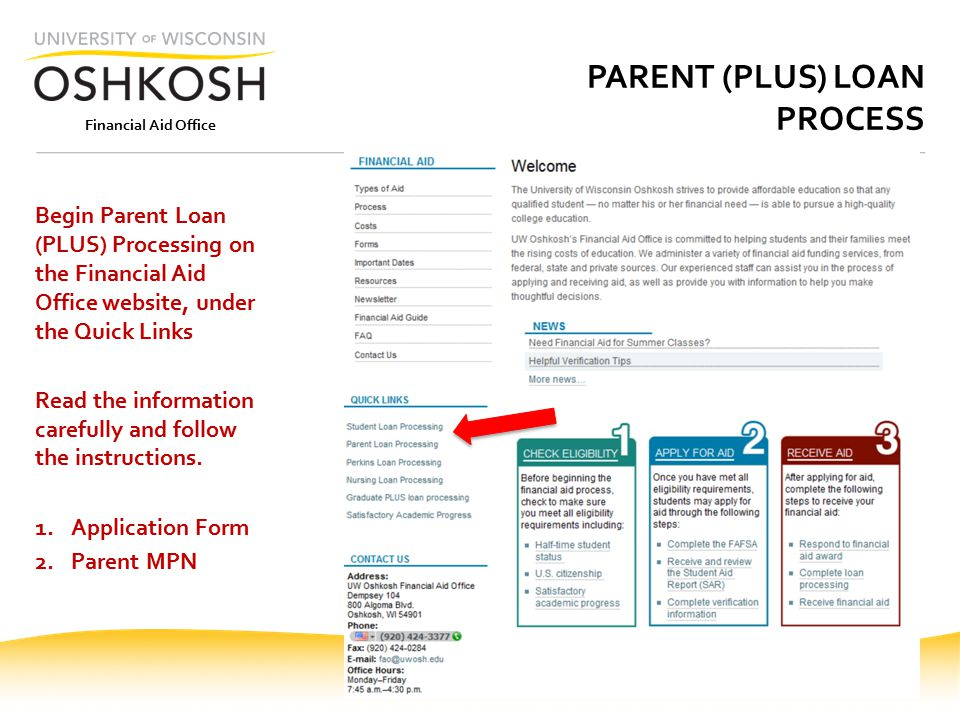 Financial Aid Office PARENT (PLUS) LOAN PROCESS Begin Parent Loan (PLUS) Processing on the Financial Aid Office website, under the Quick Links Read the information carefully and follow the instructions.