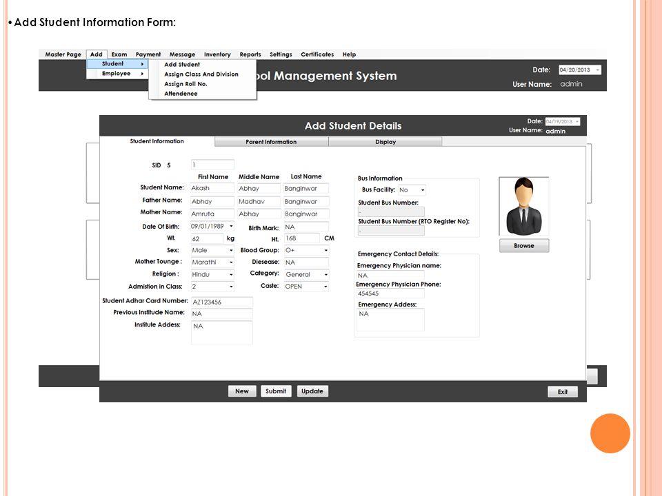 Add Student Information Form:
