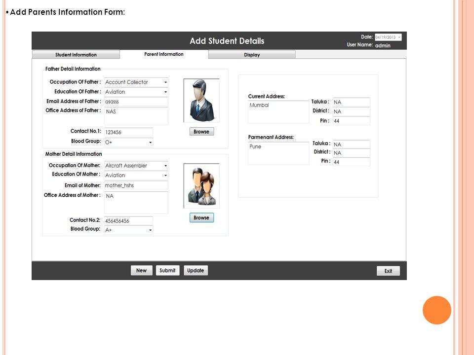 Add Parents Information Form: