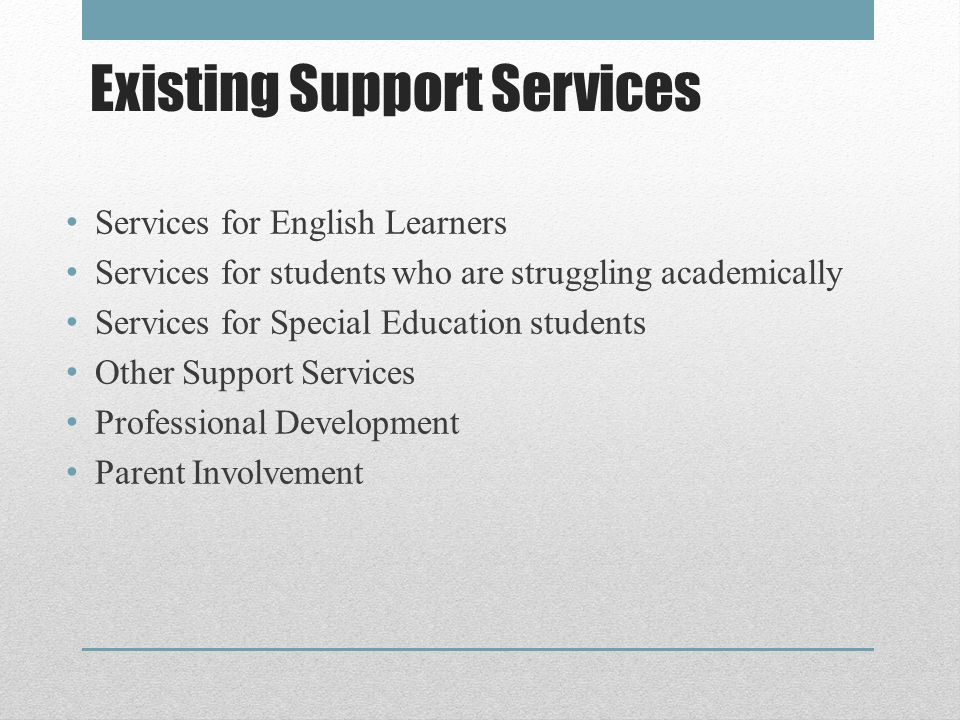 Existing District & School Plans District Strategic Plan Local Educational Agency Plan (For Federally funded Program Improvement) District Technology Plan Migrant Services Agreement Bilingual Master Plan Perkins – Career Technical Education Plan Schoolsite Single Plans for Student Achievement WASC Plans