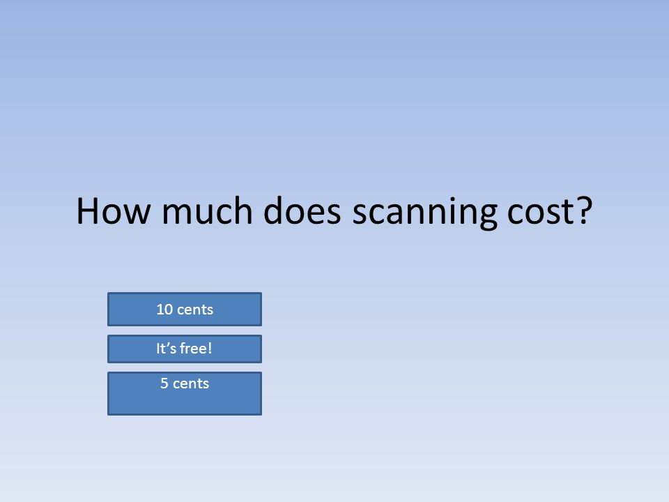 How much does scanning cost 10 cents It's free! 5 cents