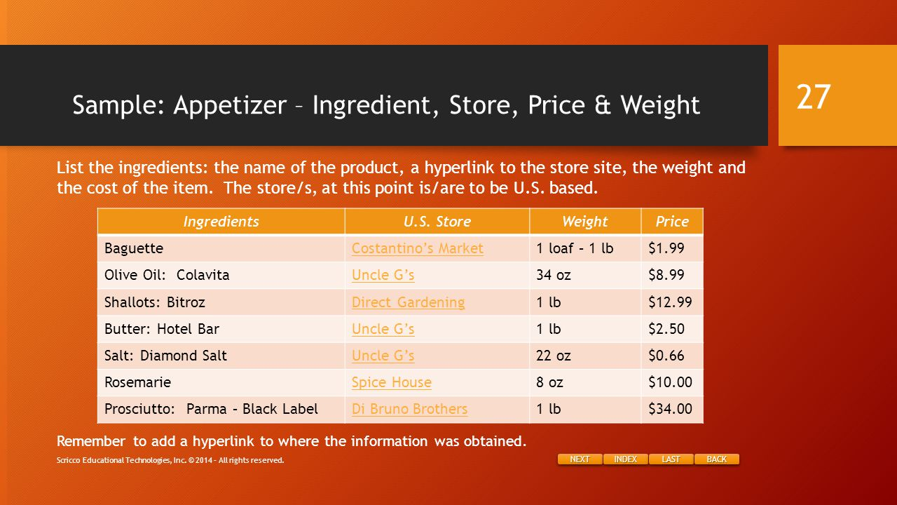NEXT INDEX LAST BACK Sample: Appetizer – Ingredient, Store, Price & Weight Remember to add a hyperlink to where the information was obtained.