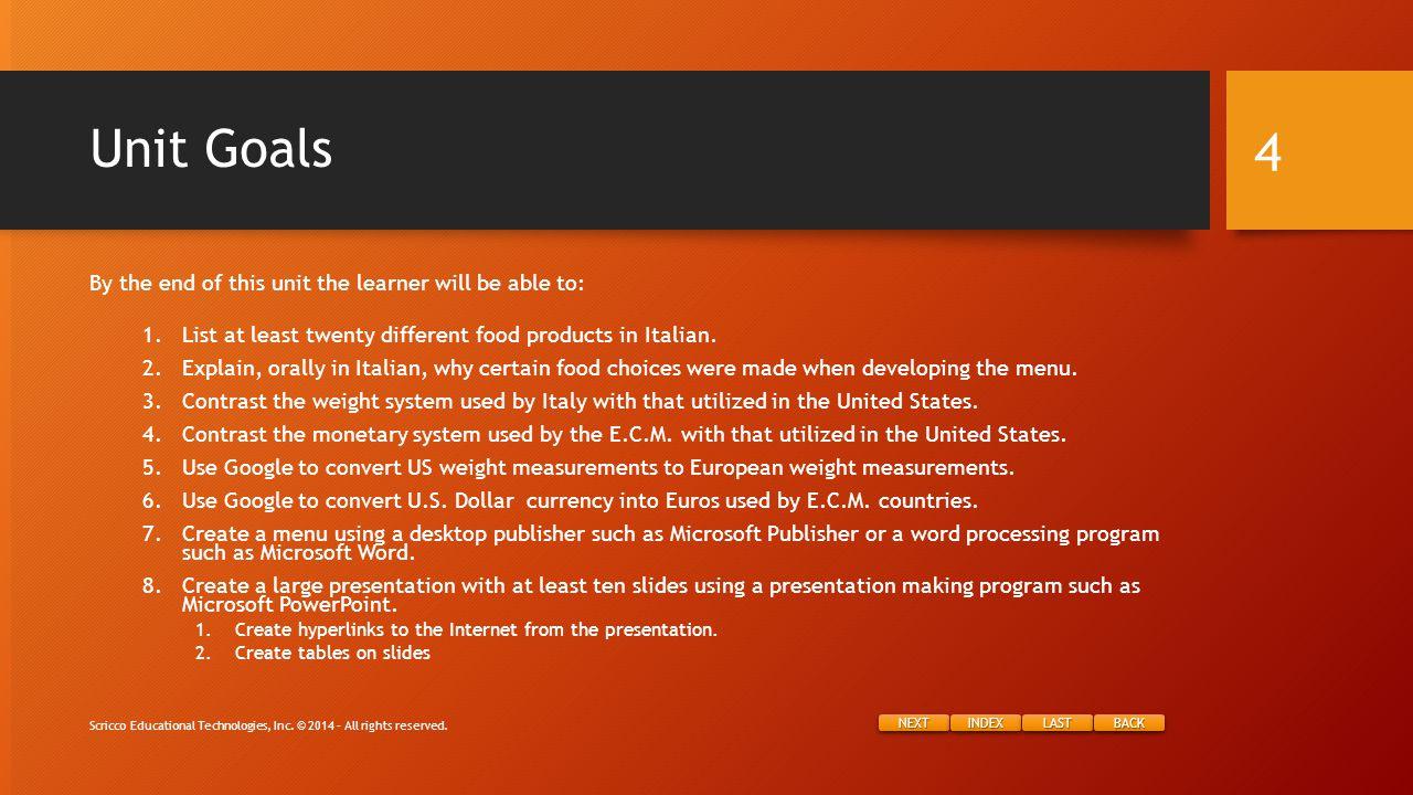 NEXT INDEX LAST BACK Sample: Appetizer Recipe Scricco Educational Technologies, Inc.