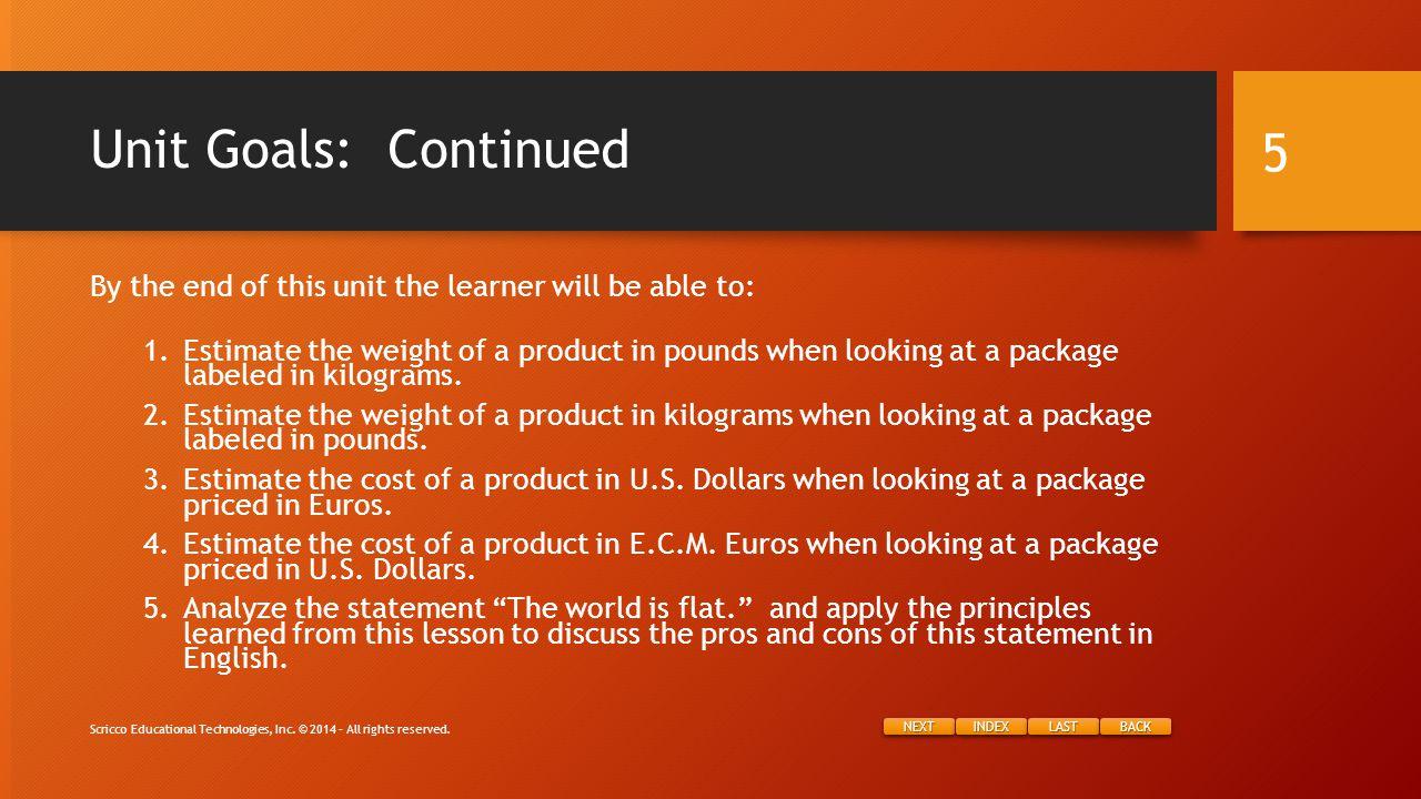 NEXT INDEX LAST BACK Project Instructions: Dessert Scricco Educational Technologies, Inc.