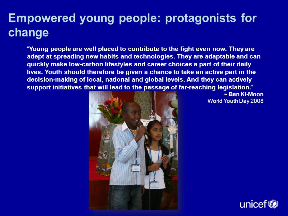 """Empowered young people: protagonists for change """" """"Young people are well placed to contribute to the fight even now. They are adept at spreading new h"""