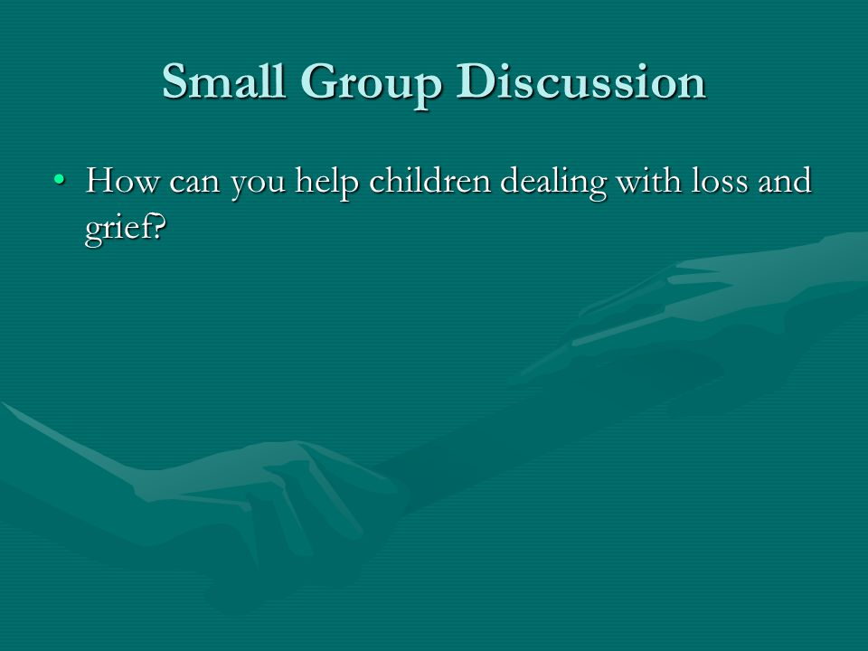 Small Group Discussion How can you help children dealing with loss and grief?How can you help children dealing with loss and grief?