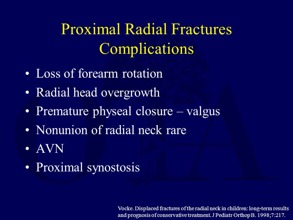 Proximal Radial Fractures Complications Loss of forearm rotation Radial head overgrowth Premature physeal closure – valgus Nonunion of radial neck rar