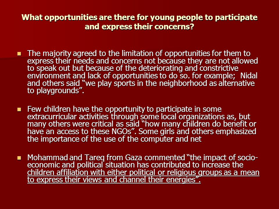 What opportunities are there for young people to participate and express their concerns.