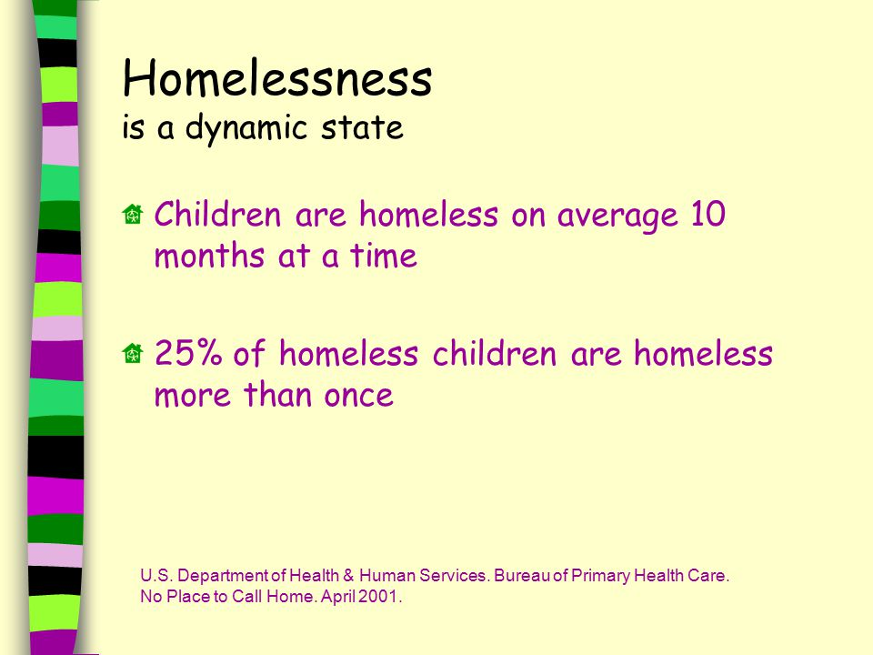 Homelessness is a dynamic state Children are homeless on average 10 months at a time 25% of homeless children are homeless more than once U.S.