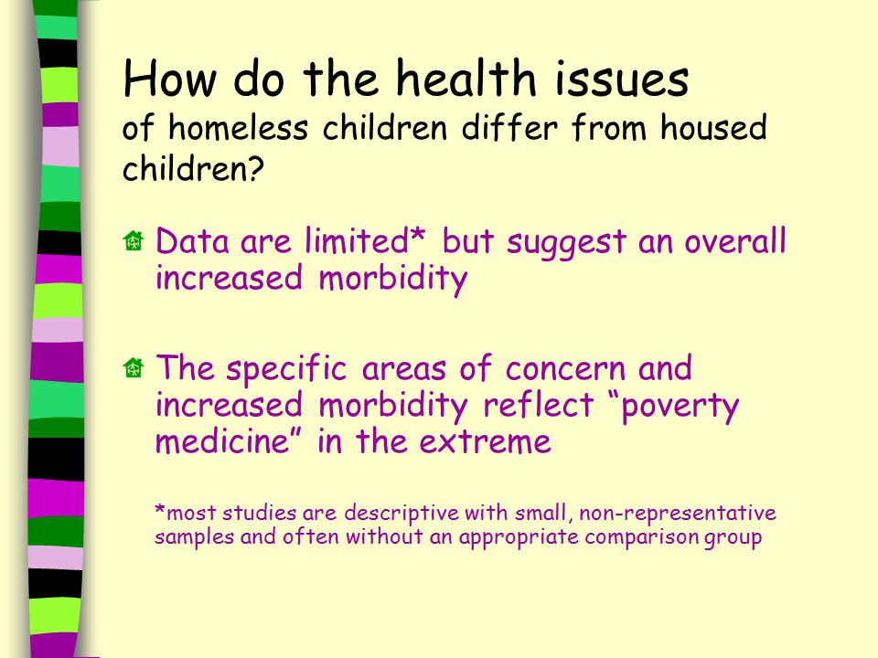 How do the health issues of homeless children differ from housed children.