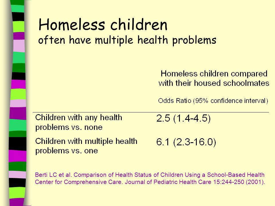 Homeless children often have multiple health problems Berti LC et al.