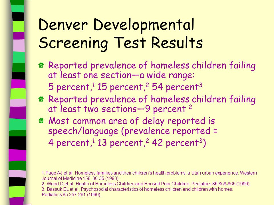 Denver Developmental Screening Test Results Reported prevalence of homeless children failing at least one section—a wide range: 5 percent, 1 15 percent, 2 54 percent 3 Reported prevalence of homeless children failing at least two sections—9 percent 2 Most common area of delay reported is speech/language (prevalence reported = 4 percent, 1 13 percent, 2 42 percent 3 ) 1.Page AJ et al.
