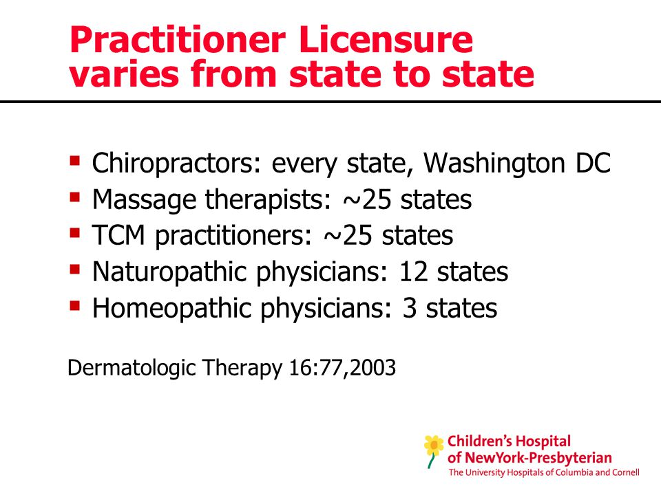 Practitioner Licensure varies from state to state  Chiropractors: every state, Washington DC  Massage therapists: ~25 states  TCM practitioners: ~25 states  Naturopathic physicians: 12 states  Homeopathic physicians: 3 states Dermatologic Therapy 16:77,2003