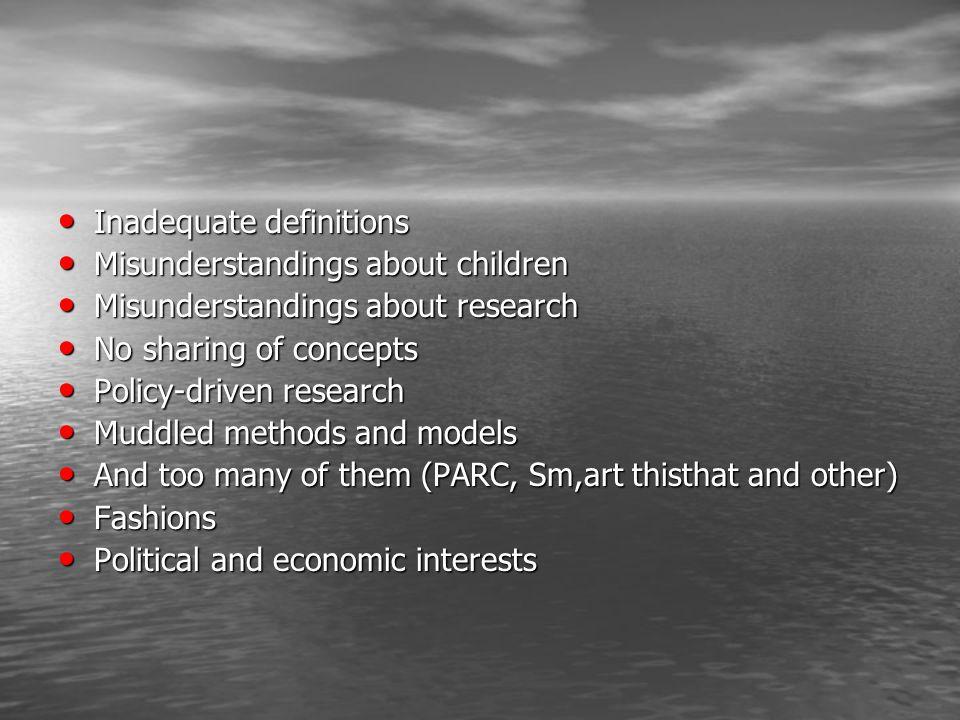 Inadequate definitions Inadequate definitions Misunderstandings about children Misunderstandings about children Misunderstandings about research Misun