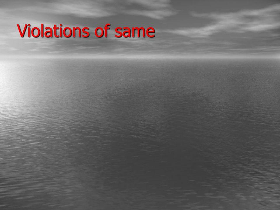 Violations of same