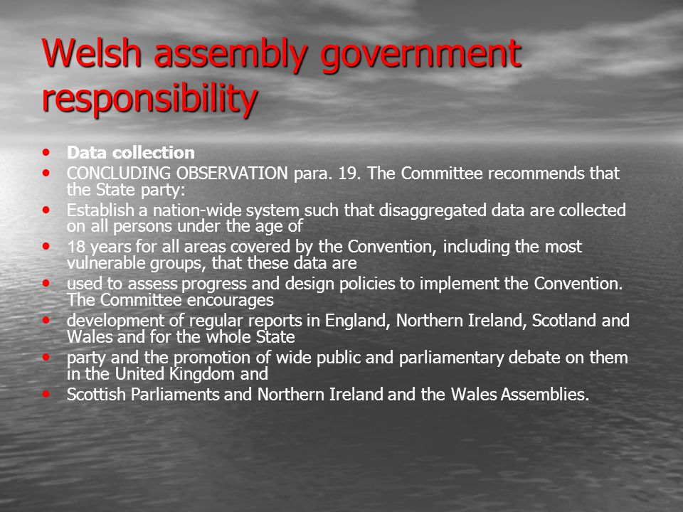 Welsh assembly government responsibility Data collection CONCLUDING OBSERVATION para.