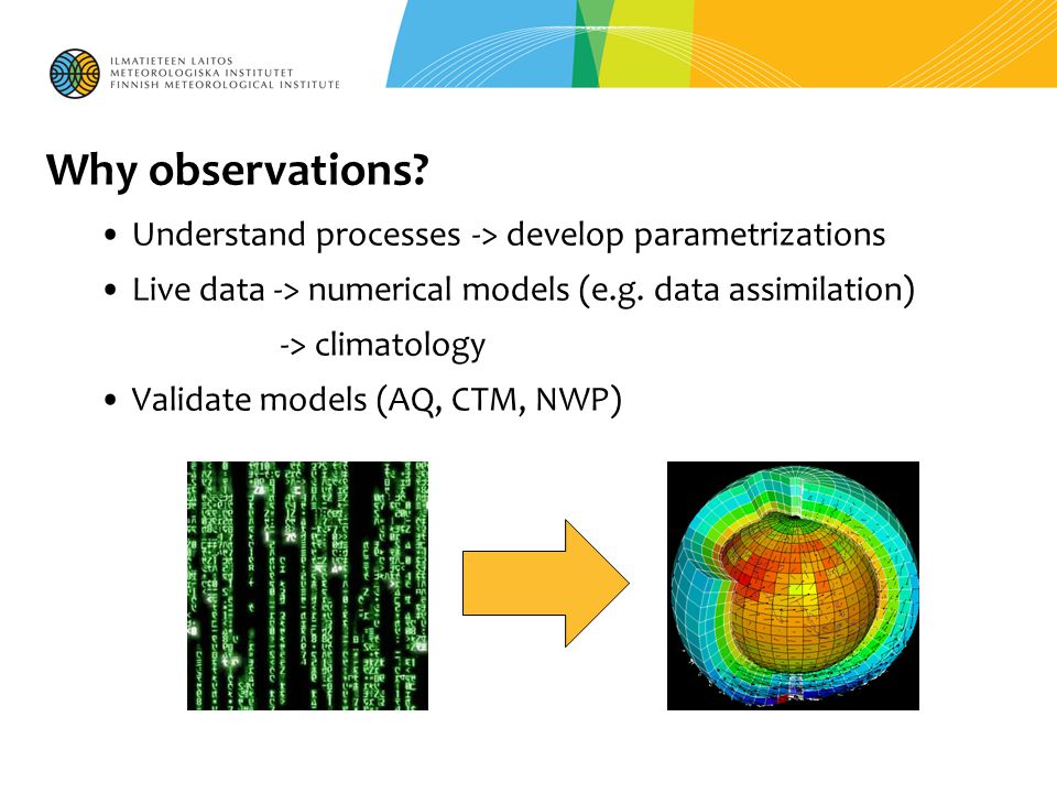 Why observations? Understand processes -> develop parametrizations Live data -> numerical models (e.g. data assimilation) -> climatology Validate mode