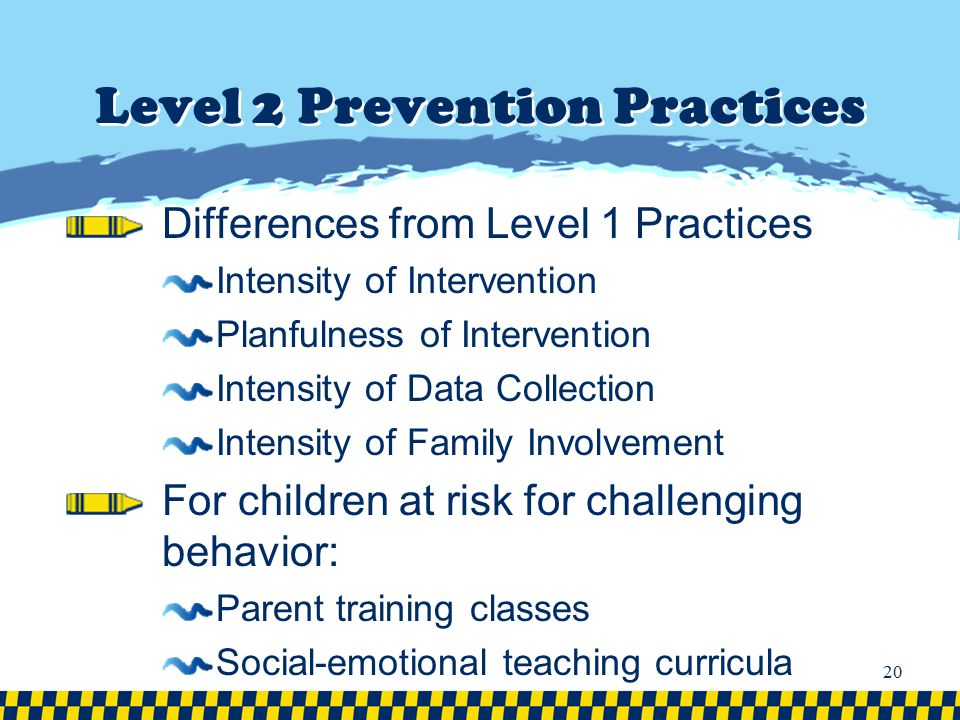 Level 2 Prevention Practices Differences from Level 1 Practices Intensity of Intervention Planfulness of Intervention Intensity of Data Collection Int