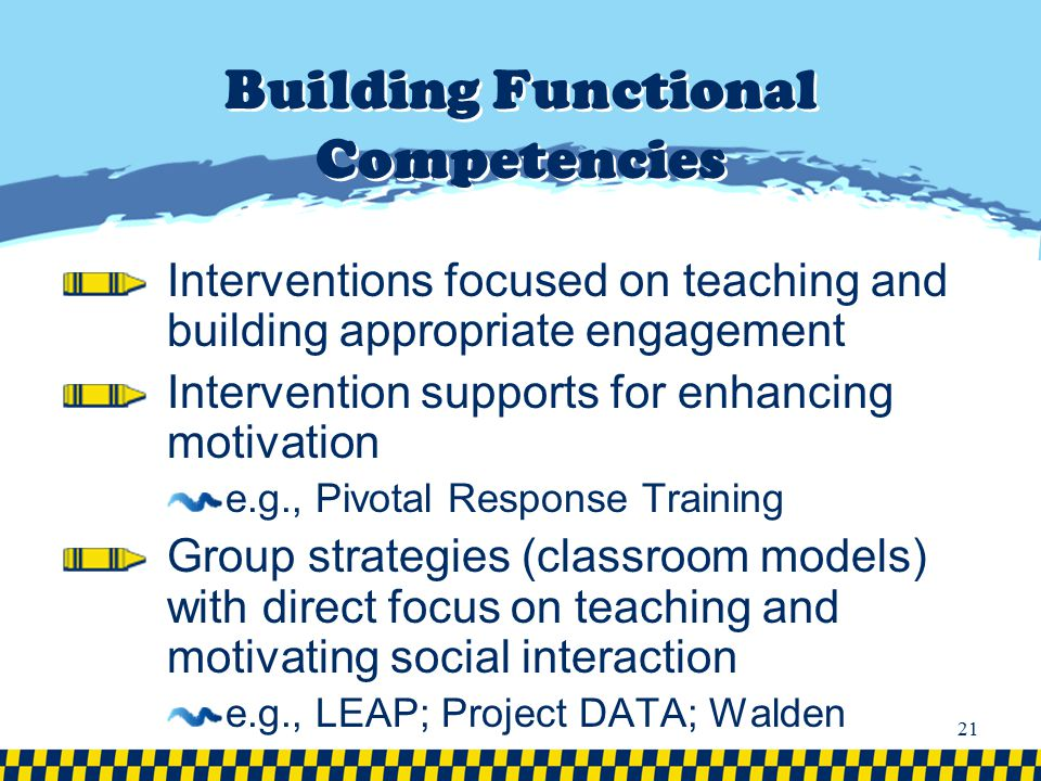 Building Functional Competencies Interventions focused on teaching and building appropriate engagement Intervention supports for enhancing motivation